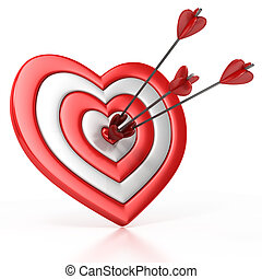 heart shaped target with the arrow