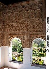 Moorish windows, Granada, Spain. - View through Moorish...