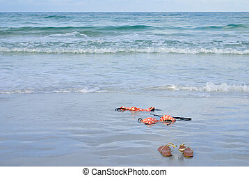 Skinny Dipping Orange Bikini on Beach - Skinny dipping...