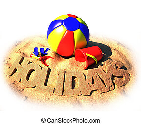 summer holidays poster 3d illustration