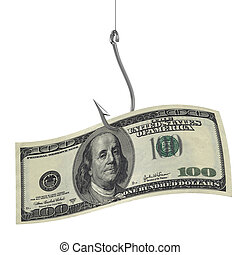hundred dollars on fishing hook 3d illustration