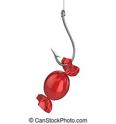 candy on fishing hook 3d illustration