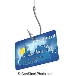 credit card on fishing hook 3d illustration