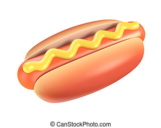 hot dog with mustard 3d illustration isolated on the white