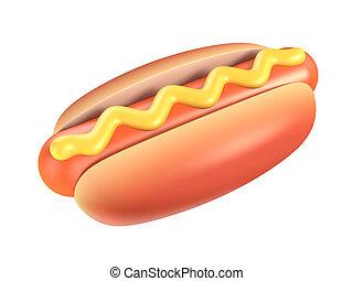 quentes, cão, mostarda