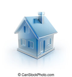 blue house icon 3d illustration