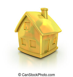 golden house 3d icon  illustration