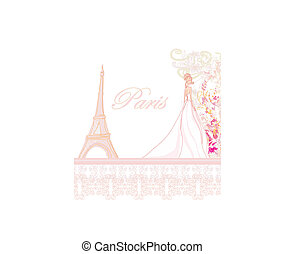 Beautiful bride in Paris card