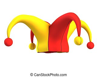 jester hat isolated on white 3d illustration