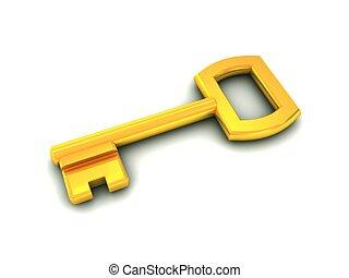 golden key on white
