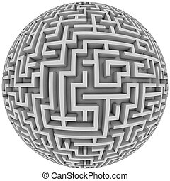 labyrinth planet - endless maze with spherical shape 3d...