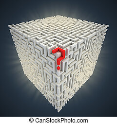 question mark inside cubical maze 3d illustration
