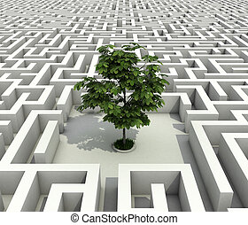 single tree lost in endless labyrinth -ecology 3d concept