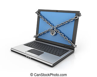 computer internet security 3d concept - chains padlock and...