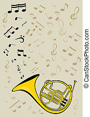 French horn and notes - Vector image of the French horn.