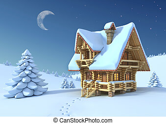 winter or Christmas scene - log house in a mountain