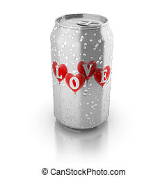 love potion 3d concept - love hearts printed on aluminium...