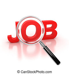 job search icon - job 3d letters under the magnifier 3d...