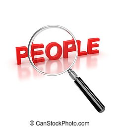 find people icon - people 3d letters under the magnifier 3d...