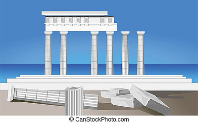 Antique Temple Ruins - Illustration of antique temple ruins...