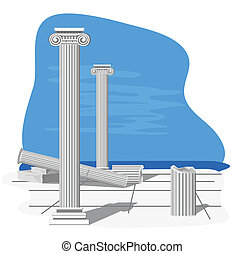Antique Ruins - Antique ruins illustration, isolated on...