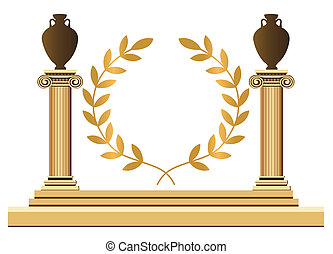 Antique Greek Symbols - Antique Greek columns with amphoras...