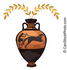 Antique Greek Vase - Antique Greek vase with olive branch,...