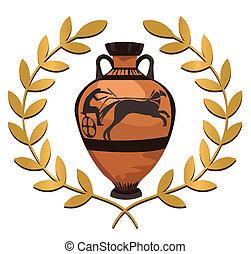 Antique Greek Vase - Antique Greek vase with olive branch,...