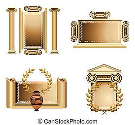 Antique Frames - Antique themed frames with olive branch and...