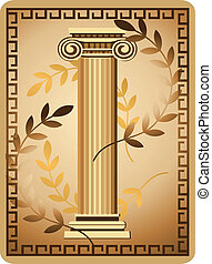 Antique Ionic Column - Illustration with antique ionic...