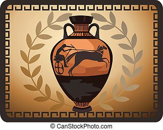 Antique Greek Vase - Illustration with antique Greek vase...