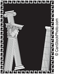 Antique Columns - Background illustration with antique Greek...