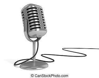 "microphone 3d illustration - radio microphone with ""on the..."