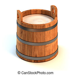 milk wooden bucket 3d illustration