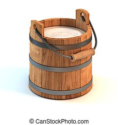 milk bucket 3d illustration