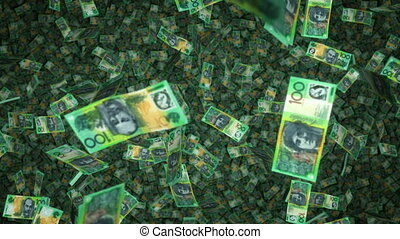 $100 Notes Raning Down - AU - Exciting footage of millions...