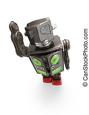 retro tin robot toy - a retro tin robot toy isolated on...
