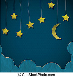 Moon and stars made from paper Creative vector eps10