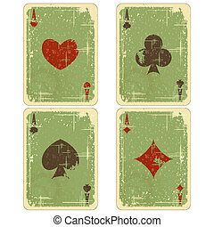 playing cards - four ace vintage isolated on white...