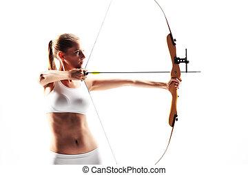 déterminé, jeune, femme, archer