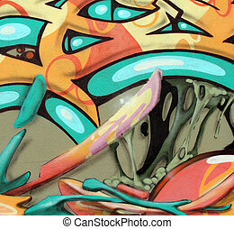 wall graffiti - closeup of a colorful graffiti
