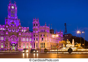 Plaza de Cibeles in Madrid - Palacio de Comunicaciones and...