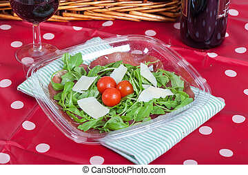 Bresaola and parmesan salad - Fresh salad with bresaola ham...