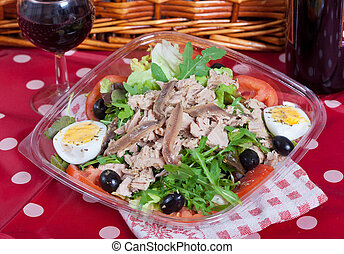 Salad with tuna and anchovies - Fresh salad with tuna fish,...