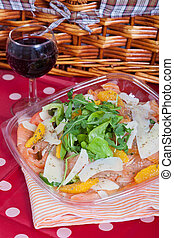 Salmon salad - Healthy salad with fresh salmon, oranges and...