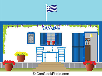 Greek Taverna - A Traditional Greek Taverna with drinks of...