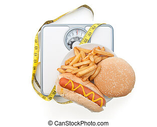 Weighing scales bad diet - Fattening foods on weighing...