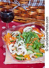 Mushrooms salad - Fresh mushroom salad with arugula,...