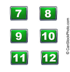 3d isolated push buttons - 3d render of push button numbers...