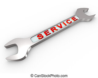 3d service wrench - 3d render of wrench with word service